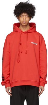 we11done Red Metal Logo Hoodie