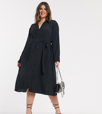 Asos DESIGN Curve pleated midi shirt dress in black