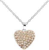 Swarovski Golden Moon Women's Necklaces Peach - Peach Pave Heart Pendant Necklace With Crystals