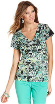 Style&Co. Top, Short-Sleeve Floral-Print Tiered