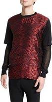 Lanvin Jacquard Zebra-Print Short-Sleeve T-Shirt, Multi