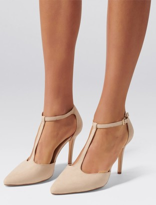 Forever New Alyssa T-Bar Pointed Court Shoes - Blush - 38