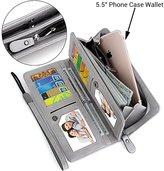 "UTO Women PU Leather Wristlet Wallet Large Capacity 5.5"" Zipper Phone Case Card Holder Organizer Purse 2"