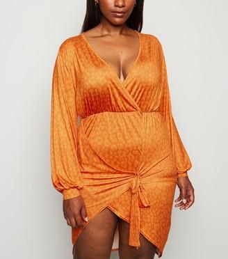 New Look Just Curvy Leopard Print Tie Wrap Dress