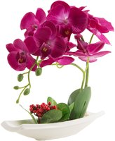 LOUHO Phaleanopsis Orchid in Vase Silk Flower Arrangement Decoration