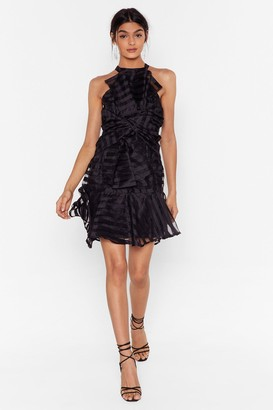 Nasty Gal Womens Got to Show Me Love Organza Mini Dress - Black - 6, Black