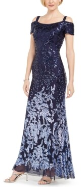 R & M Richards Petite Sequin Cold-Shoulder Gown