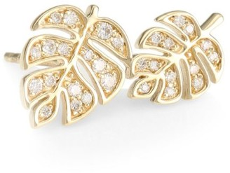 Sydney Evan 14K Yellow Gold & Diamond Double Monstera Leaf Left Stud Earring