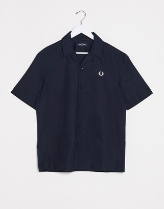 Fred Perry short sleeve revere collar shirt with back detail in navy