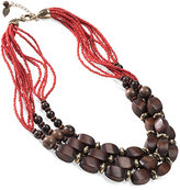 Coldwater Creek Triple row wood beaded necklace