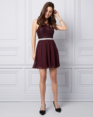 Le Château Sequin Lace & Chiffon Cocktail Dress