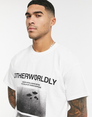 Topman T-shirt with front print in gray
