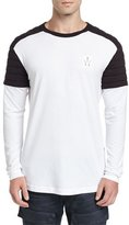 G Star G-Star Lucas Relaxed Quilted-Contrast Jersey Long-Sleeve T-Shirt, White