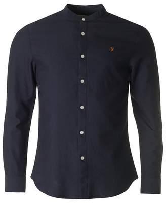 Farah Brewer Grandad Collar Slim Oxford Shirt Colour: NAVY, Size: XXL