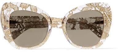 Dolce & Gabbana Cat-eye Acetate And Metallic Lace Mirrored Sunglasses - Gold