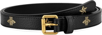 Gucci Bee & Star Print Leather Belt
