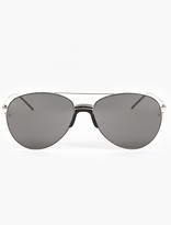 Linda Farrow White Gold-Plated Aviator Sunglasses
