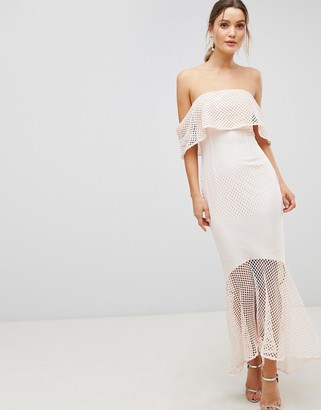 C By Cubic Lace Bandeau Fishtail Maxi Dress With Frill Overlay