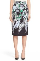 Milly Women's 'Painted Floral' Pencil Skirt