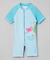 Sweet & Soft Turquoise 'Ocean Friend' One-Piece Rashguard - Kids & Girls