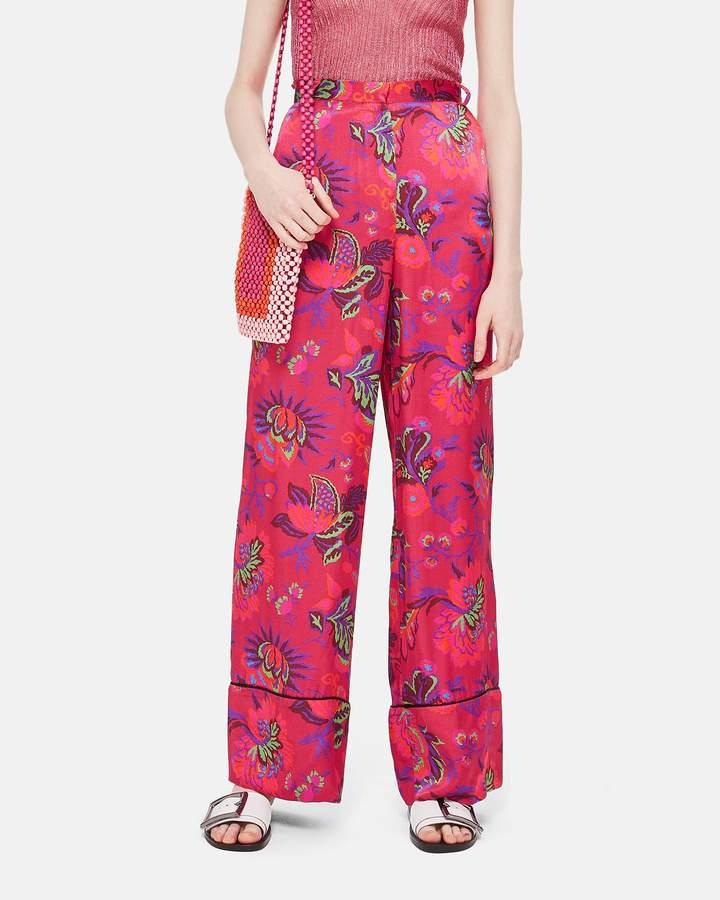 Topshop Floral Wide Leg Trousers