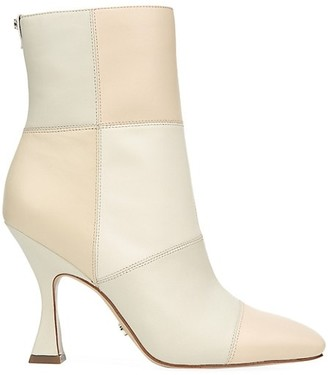 Sam Edelman Olina Square-Toe Patchwork Leather Ankle Boots