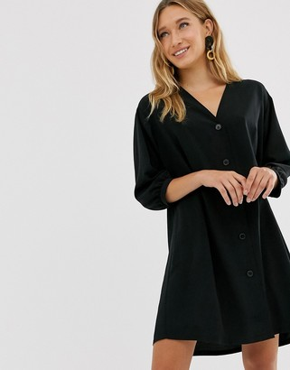 Monki v-neck button through mini smock dress in black