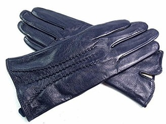 L & E Ladies Real Leather Stripe Detail Gloves (LARGE