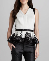 Robert Rodriguez Leather-Trim Lace-Peplum Top