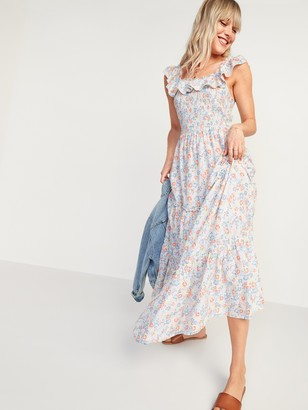 Old Navy Ruffled Smocked-Bodice Floral Sleeveless Maxi Dress for Women