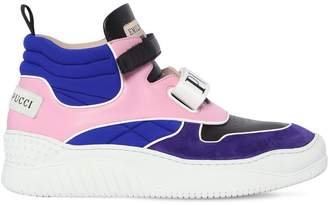 Emilio Pucci 40MM LEATHER & SUEDE HIGH TOP SNEAKERS
