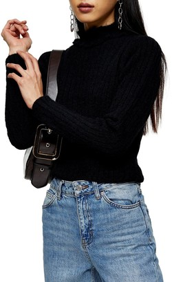 Topshop Frill Neck Ribbed Sweater