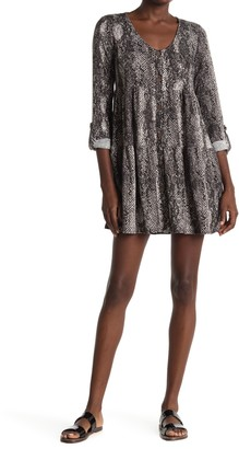 Snake Print Button Front Tiered Mini Dress