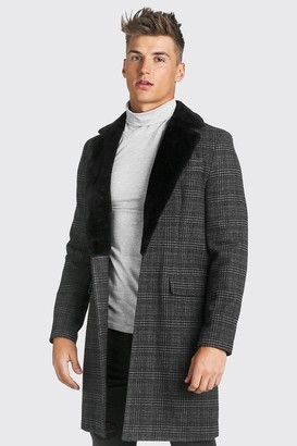 boohoo Mens Grey Check Single Breasted Overcoat With Faux Fur Collar, Grey