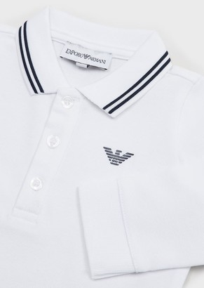 Emporio Armani Long-Sleeved Stretch Pique Polo Shirt