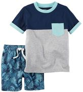 Osh Kosh Baby Boy Colorblock Tee & Leaf-Print Shorts Set