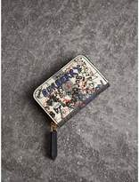 Burberry Doodle Print Coated Canvas Check Ziparound Coin Case