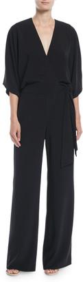 Halston Wide-Leg 3/4-Sleeve Wrap-Front Jumpsuit w/ Tie Waist
