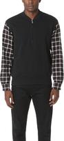 3.1 Phillip Lim Henley Sweatshirt with Flannel Over Sleeves