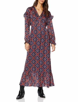 Scotch & Soda Maison Women's Sheer Feminine Maxi Dress with Allover Print