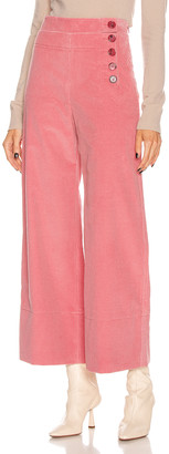 Chloé Crop Button Pant in Burnt Rose | FWRD
