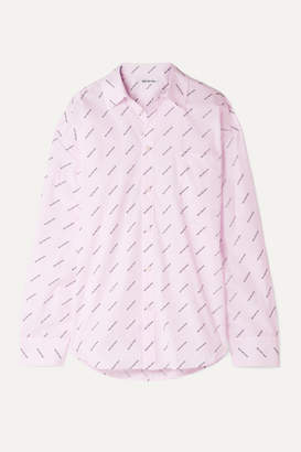 Balenciaga Oversized Striped Printed Cotton Shirt - Pastel pink
