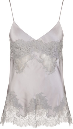 Ermanno Scervino Grey Silk Top With Lace Inserts