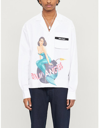 Palm Angels Graphic-print relaxed-fit cotton-blend shirt