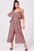 Girls On Film Kassie Coral Leopard-Print Satin Cold-Shoulder Culotte Jumpsuit