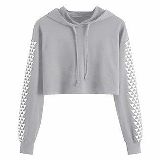 Ulanda Eu Womens Hoodies Cropped Hoodies for Teen Girls Womens Cropped Sweatshirts Fashion Jumper Pullovers Ladies Long Sleeve Short Hoody Blouses for Women Grey