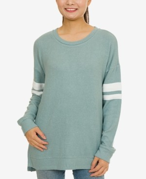 Hippie Rose Juniors' Cozy Marled Striped-Sleeve Tunic Top