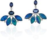 Artisan 18Kt Solid White Gold Diamond Leaf Shape Stud Earring Opal Doublet Blue Sapphire Women Jewelry