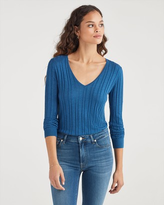 7 For All Mankind Cashmere Blend Long Sleeve Deep V-Neck in Retro Blue