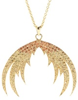 House Of Waris Plumage Ombré 18kt Yellow Gold Pendant Necklace With Orange Sapphires